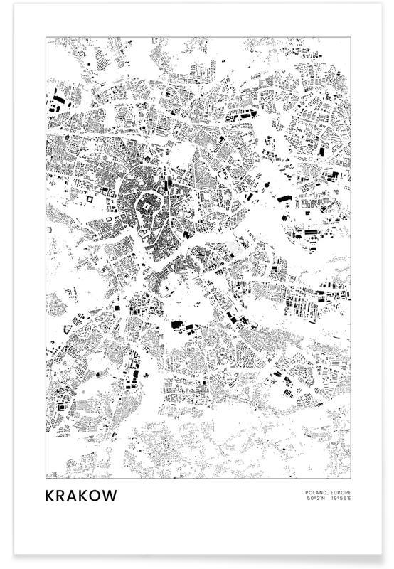 Black & White, City Maps, Travel, Krakow Poster
