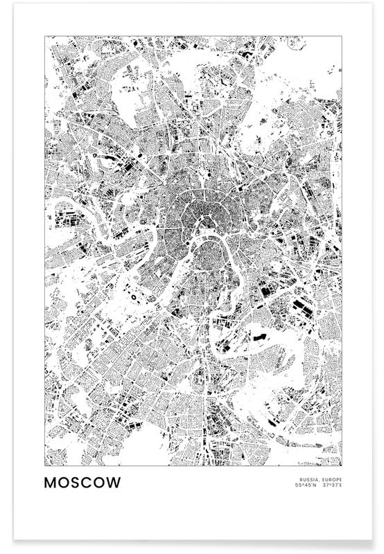 Black & White, City Maps, Travel, Moscow Poster