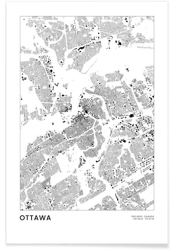 Sort & hvidt, Bykort, Rejser, Ottawa Plakat
