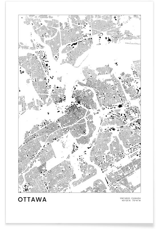 Mapas de ciudades, Viajes, Blanco y negro, Ottawa póster