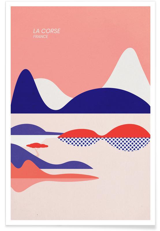 Océans, mers & lacs, Paysages abstraits, Voyages, La Corse affiche