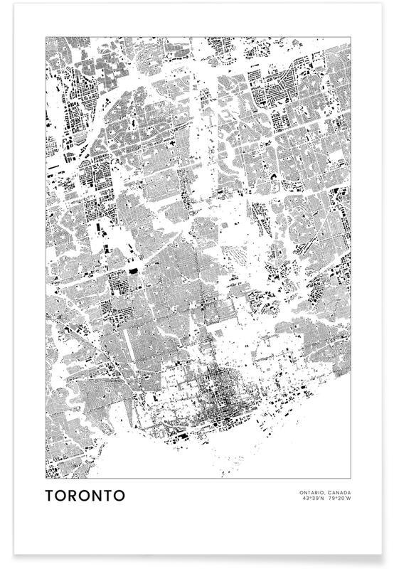 Mapas de ciudades, Viajes, Blanco y negro, Toronto póster