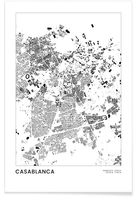 Sort & hvidt, Bykort, Rejser, Casablanca Plakat