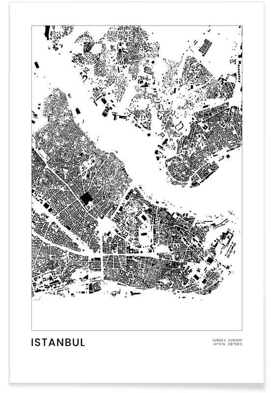 Sort & hvidt, Istanbul, Bykort, Rejser, Istanbul Plakat