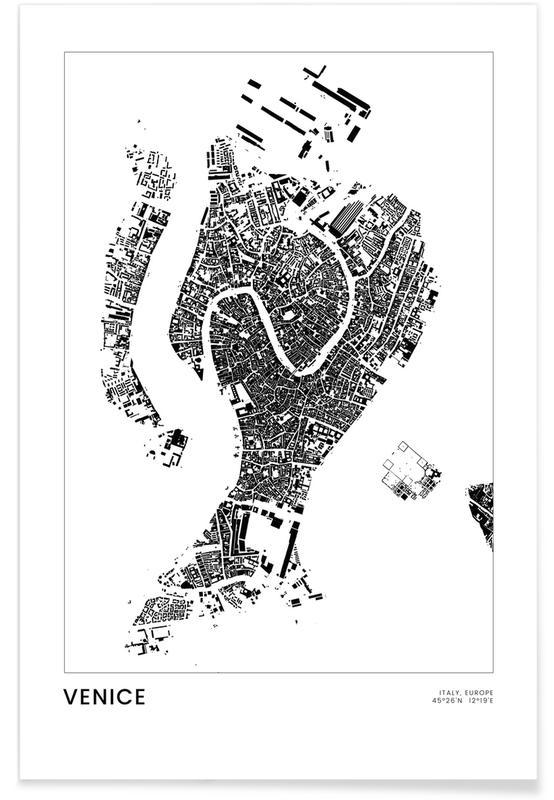 Blanco y negro, Viajes, Venice póster