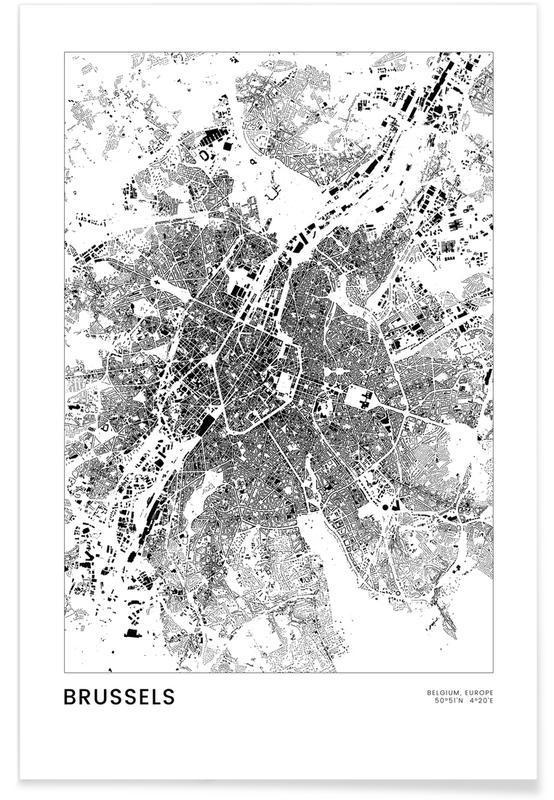 Bianco & nero, Mappe città, Viaggio, Brussels poster