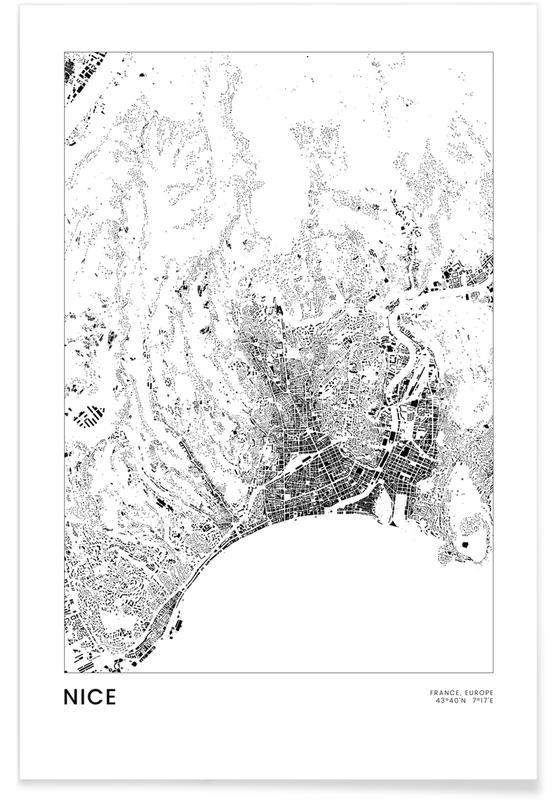 Mapas de ciudades, Viajes, Blanco y negro, Nice póster