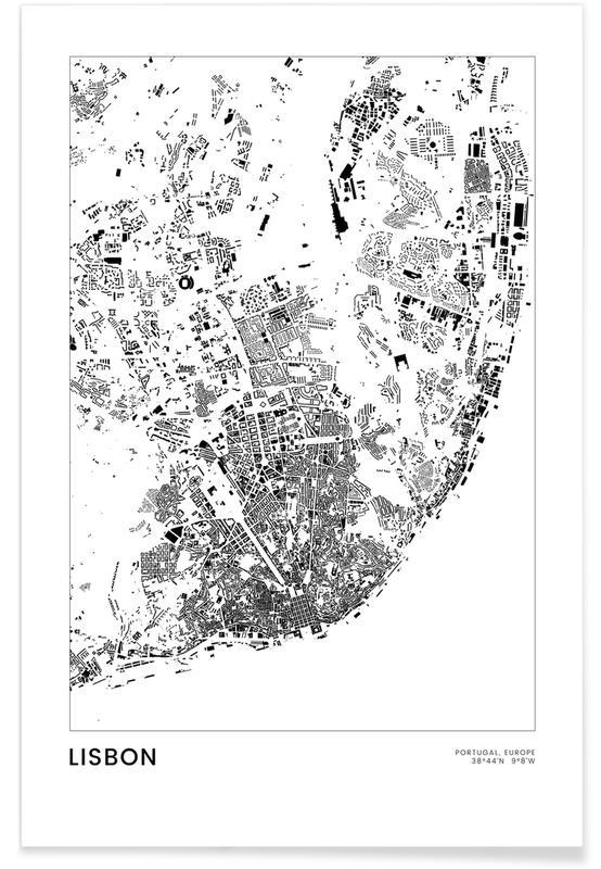 Voyages, Lisbonne, Noir & blanc, Cartes de villes, Lisbon affiche