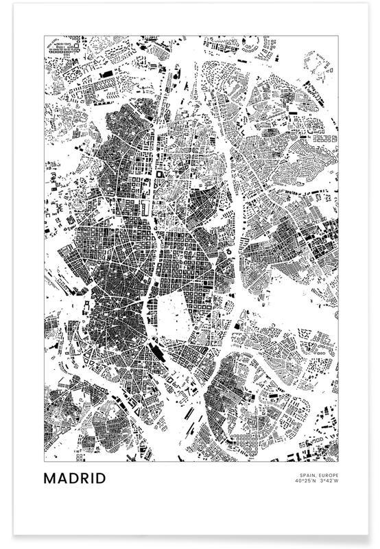Voyages, Noir & blanc, Cartes de villes, Madrid, Madrid affiche