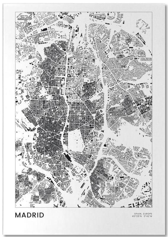 Madrid, Noir & blanc, Cartes de villes, Voyages, Madrid bloc-notes