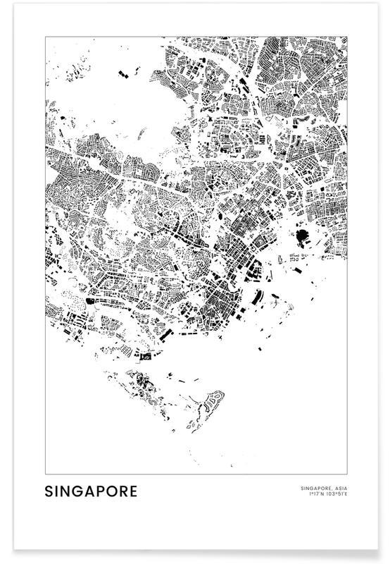 Sort & hvidt, Bykort, Rejser, Singapore Plakat