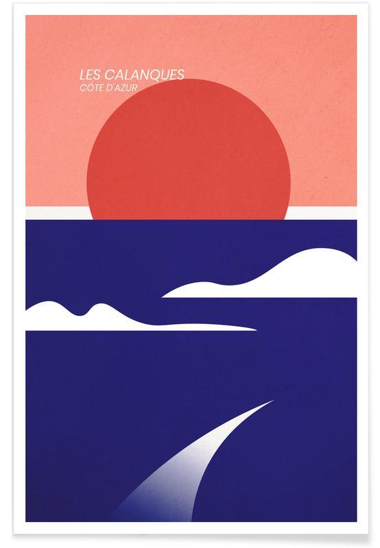 Hav, sø & havlandskab, Abstrakte landskaber, Rejser, Les Calanques Plakat