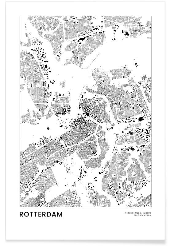 Schwarz & Weiß, Rotterdam, Reise, Stadtpläne, Rotterdam -Poster