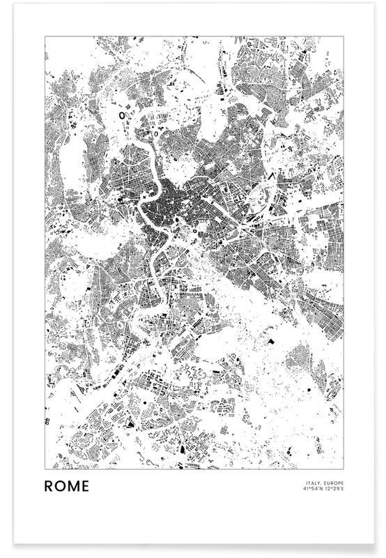 Rom, Sort & hvidt, Bykort, Rejser, Rome Plakat