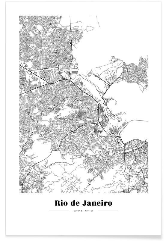 Sort & hvidt, Rio de Janeiro, Bykort, Rejser, Rio de Janeiro Plakat