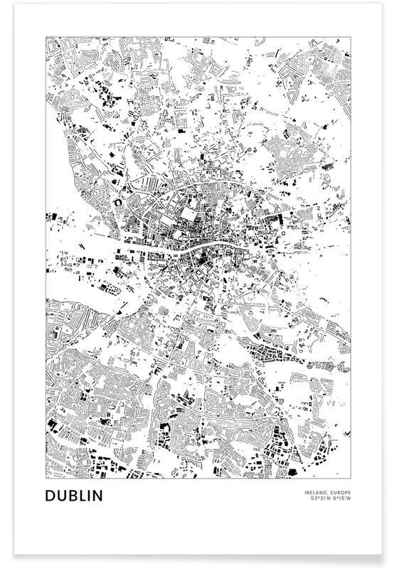 Mapas de ciudades, Viajes, Dublín, Blanco y negro, Dublin póster