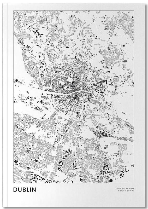 Cartes de villes, Noir & blanc, Dublin, Voyages, Dublin Notebook