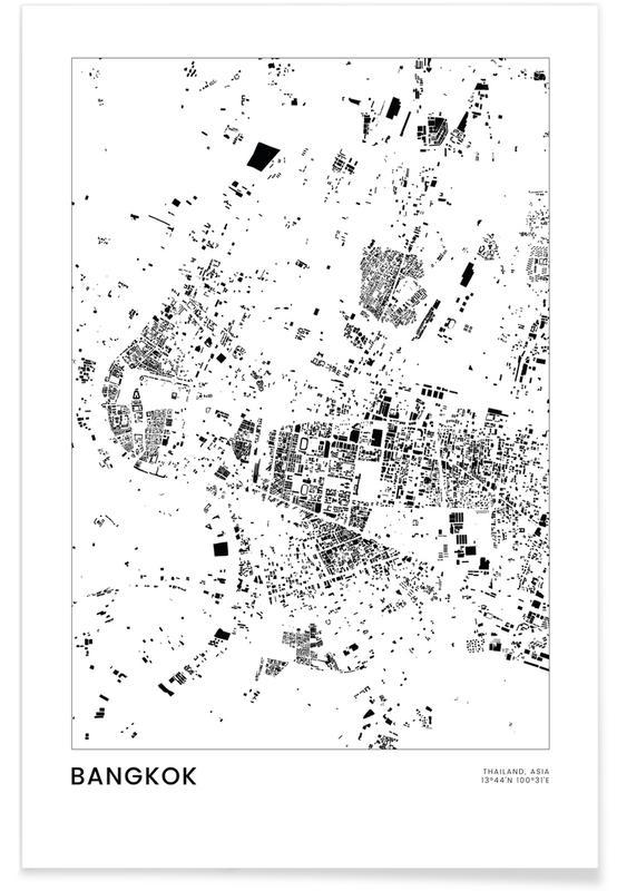Sort & hvidt, Bykort, Rejser, Bangkok Plakat