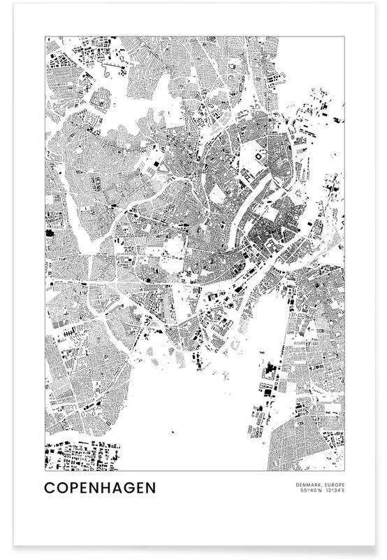 Black & White, City Maps, Copenhagen, Travel, Copenhagen Poster