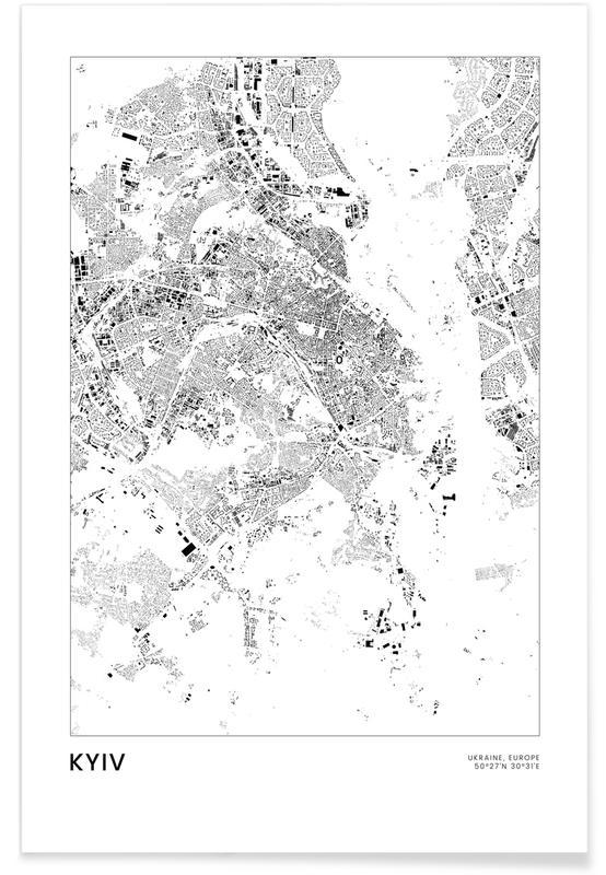 Bianco & nero, Mappe città, Viaggio, Kyiv poster