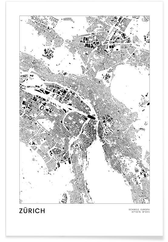 Voyages, Noir & blanc, Cartes de villes, Zurich, Zürich affiche