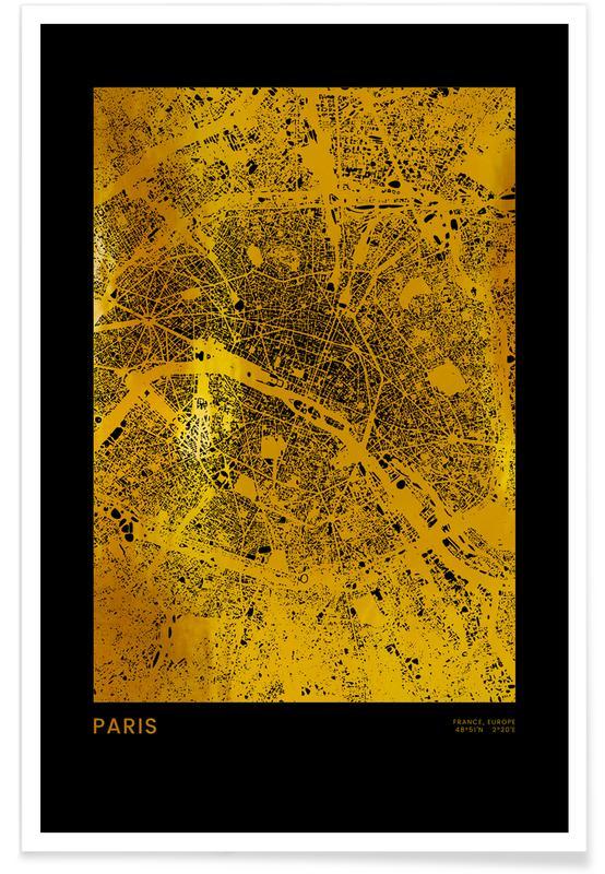 Paris, Travel, Gold Paris Poster