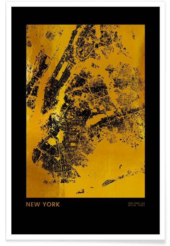 New York, Bykort, Rejser, New York Guld Plakat