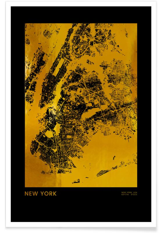 Gold New York Poster
