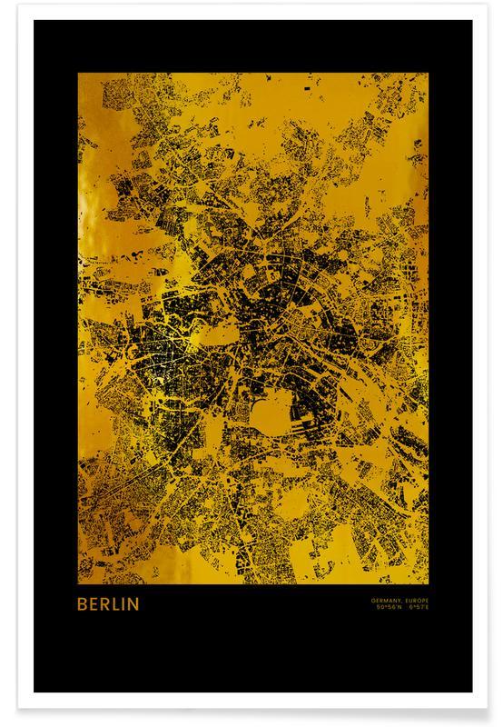 Berlin, Bykort, Rejser, Berlin Map Guld Plakat