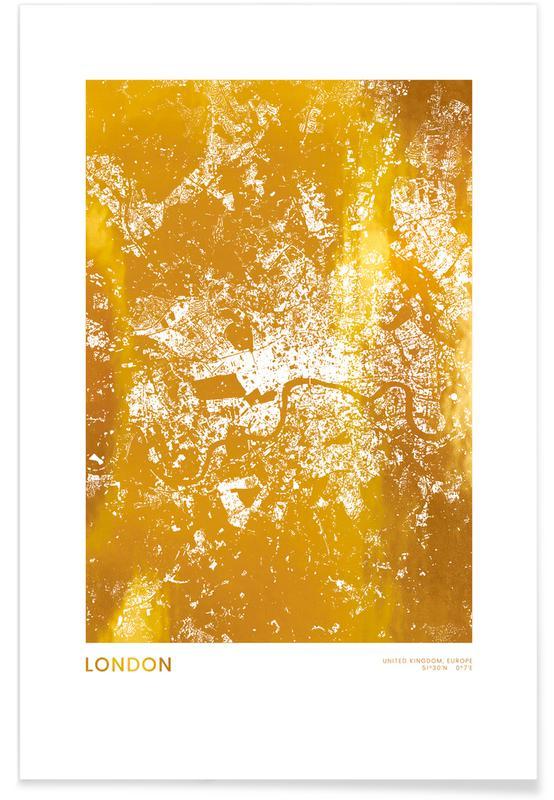 Voyages, Cartes de villes, Londres, London - Or - affiche