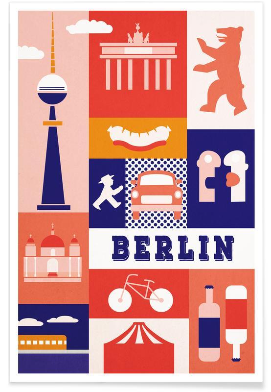 Seværdigheder & landmærker, Berlin, Rejser, Berlin Icons Plakat