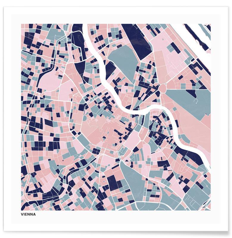 Cartes de villes, Vienna III affiche