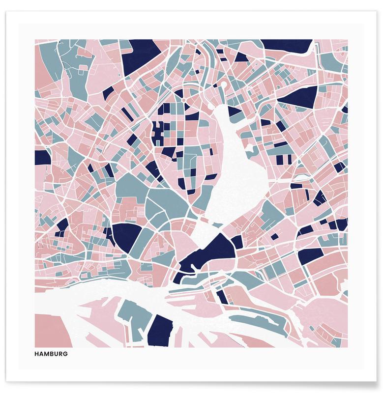 Cartes de villes, Hamburg III affiche
