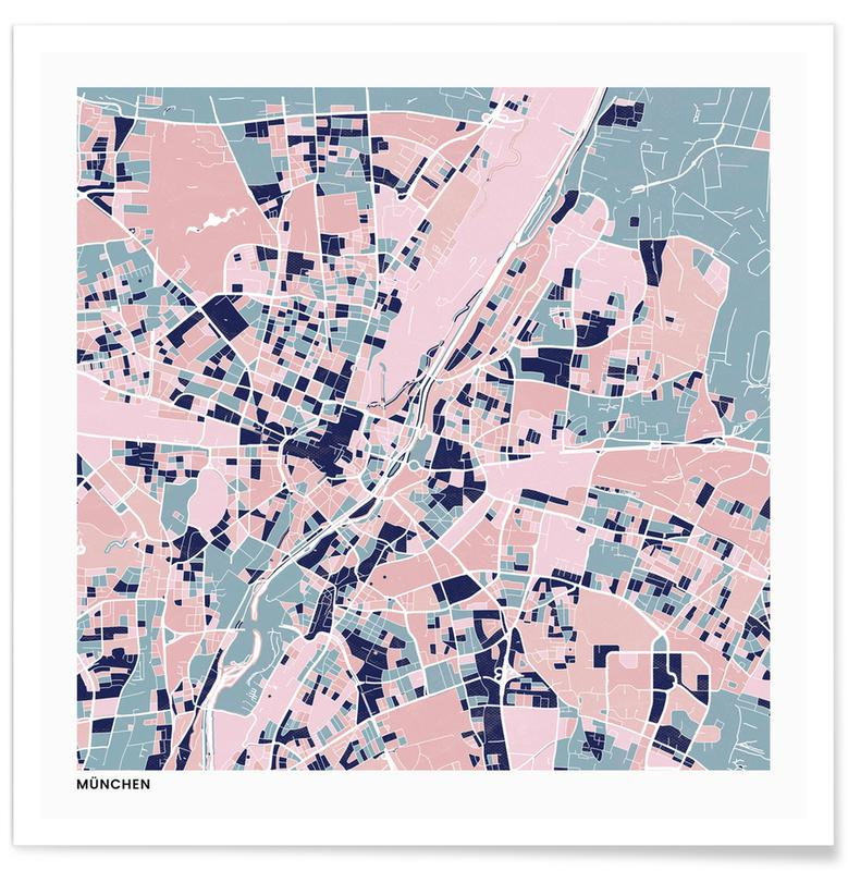 Cartes de villes, Munich III affiche