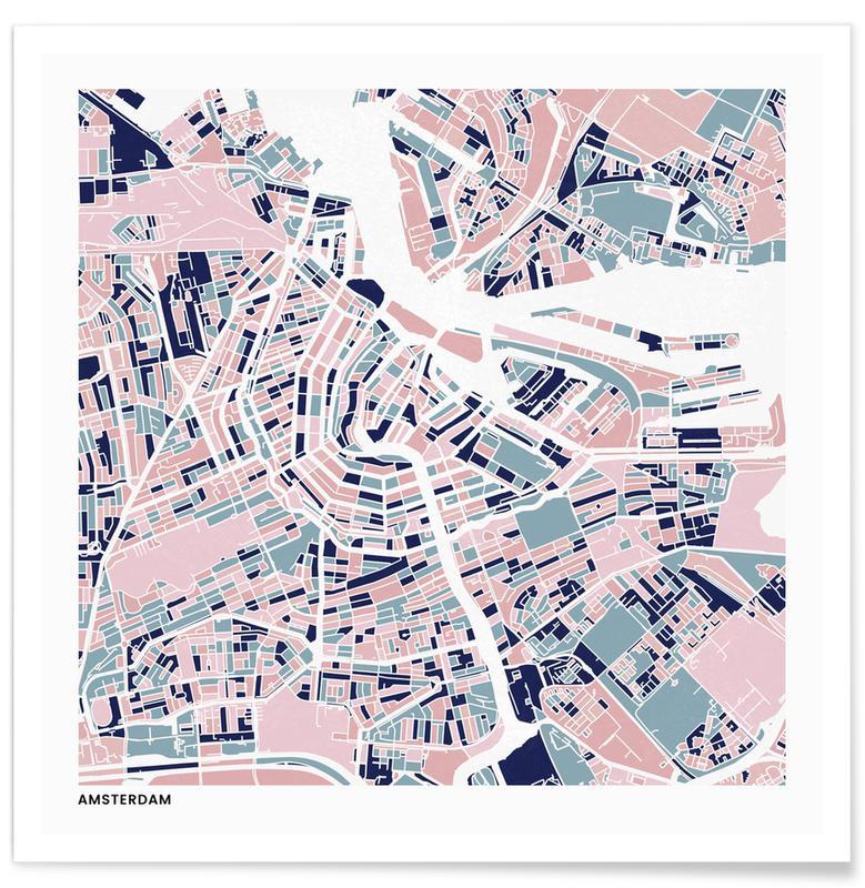 Cartes de villes, Amsterdam III affiche