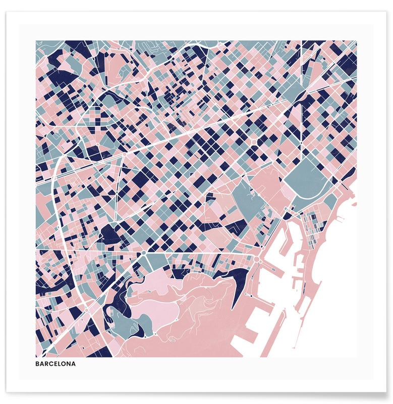 Cartes de villes, Barcelona III affiche
