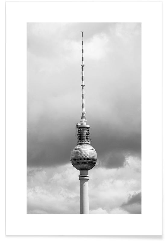 Schwarz & Weiß, Sehenswürdigkeiten & Wahrzeichen, Reise, Berlin, Alexanderplatz, Berlin Icons -Poster