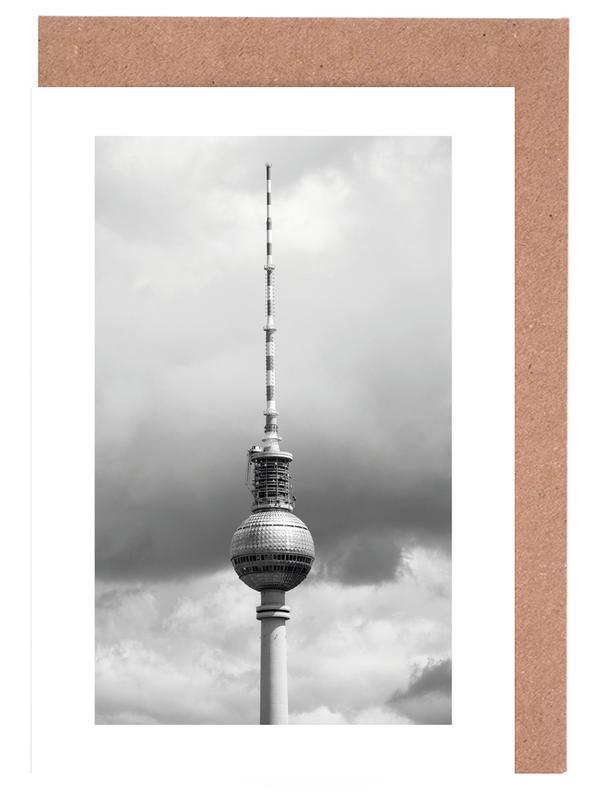Berlin, Black & White, Travel, Sights & Landmarks, Alexanderplatz, Berlin Icons Greeting Card Set