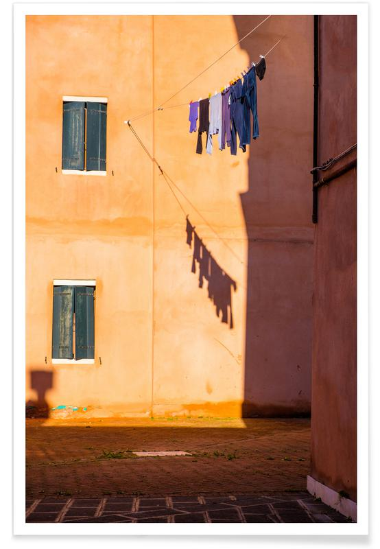 Architectural Details, Golden Rays On Washing Poster