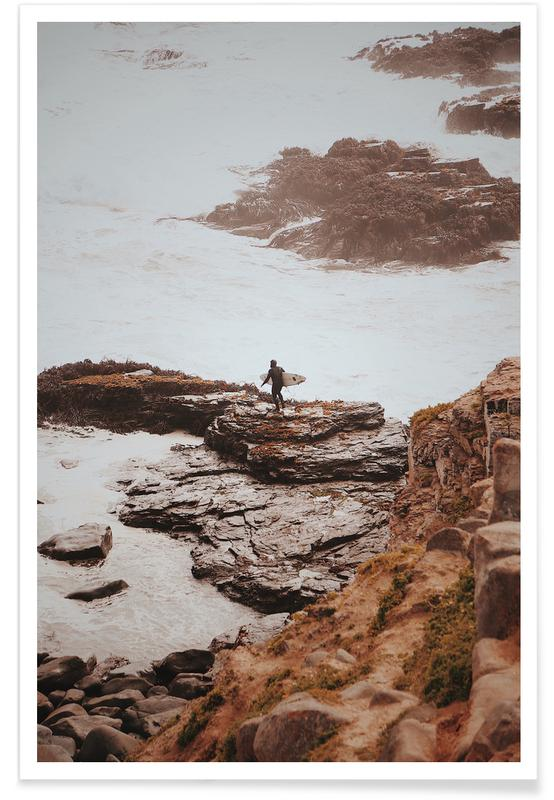 Ocean, Lake & Seascape, Surfing, Brave Surfer Poster
