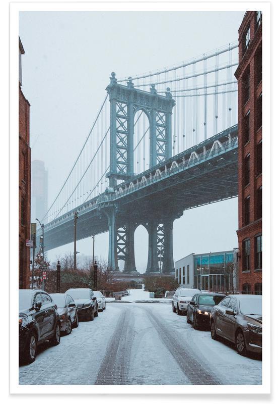 Bridges, New York, Winter Bridge Poster
