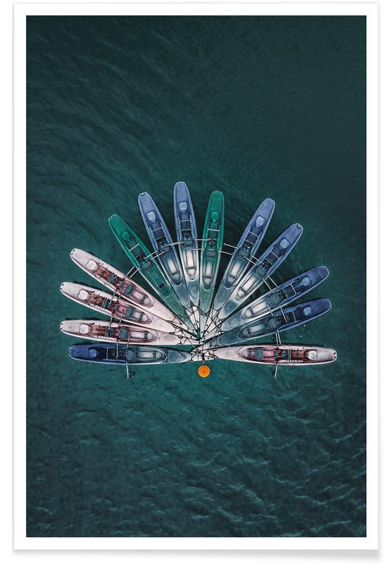 Bateaux, Océans, mers & lacs, Boats in Fan Formation affiche