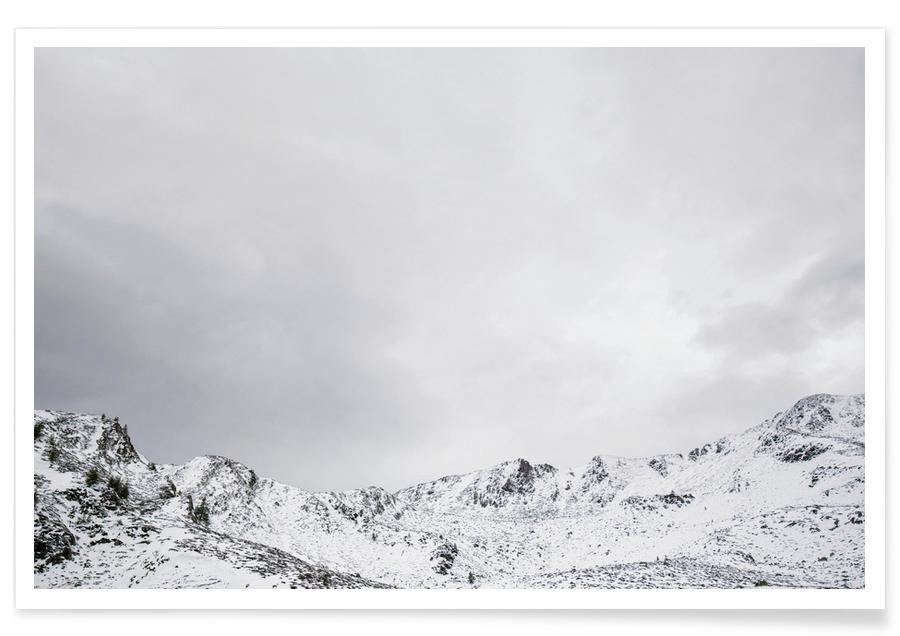 Black & White, Mountains, Skies & Clouds, Snowy Mountains Poster