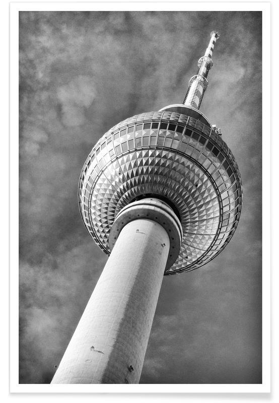 Voyages, Monuments et vues, Noir & blanc, Berlin, Berlin Fernsehturm affiche