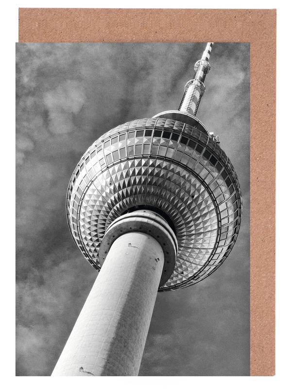 Berlin, Black & White, Travel, Sights & Landmarks, Berlin Fernsehturm Greeting Card Set