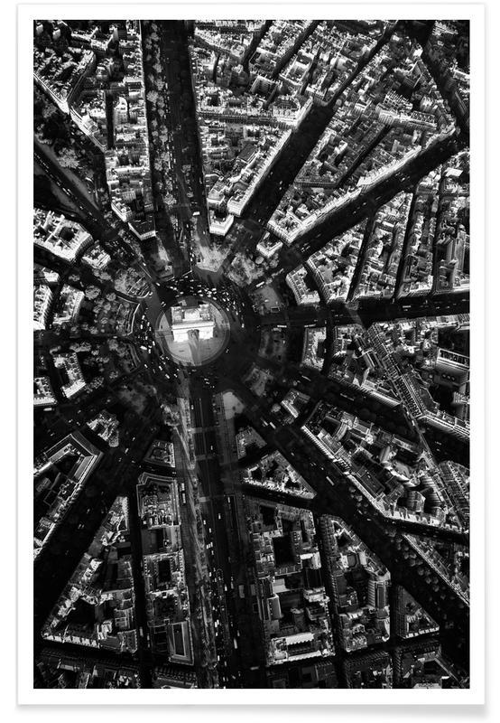 Sort & hvidt, Seværdigheder & landmærker, Paris, Rejser, Paris Aerial Plakat