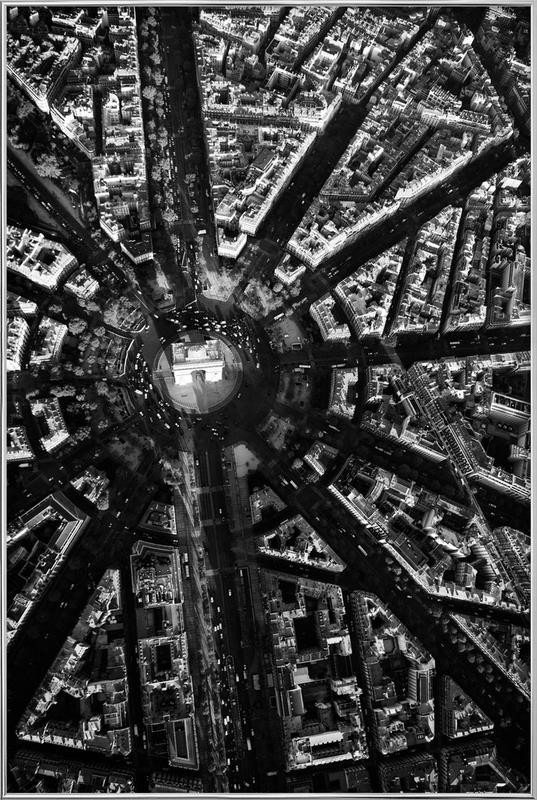Paris Aerial Poster in Aluminium Frame