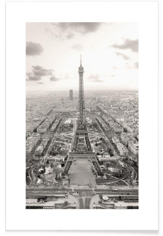 Sort & hvidt, Seværdigheder & landmærker, Paris, Rejser, Tour Eiffel Plakat