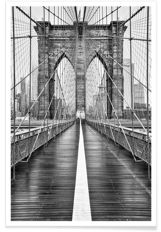 Voyages, Monuments et vues, Noir & blanc, New York, Pont de Brooklyn affiche
