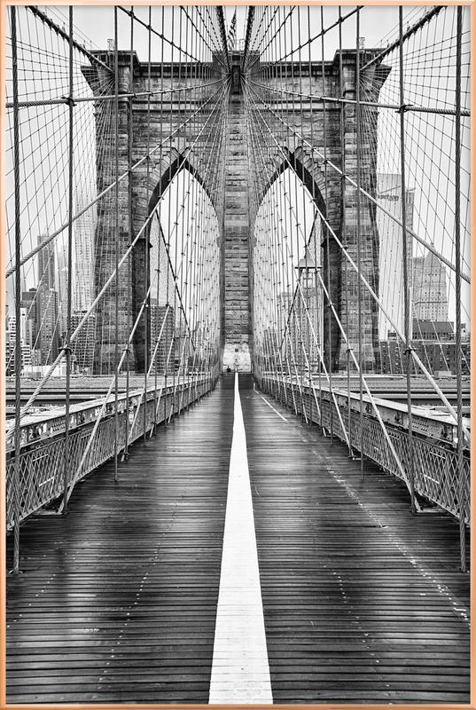 Brooklyn Bridge affiche sous cadre en aluminium